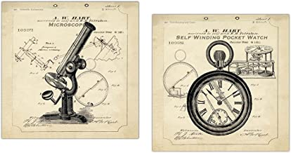 Gango Home Decor Popular Old-Fashioned Microscope and Self Winding Pocket Watch Print Set by TRE Sorelle Studios; Two 12x12in Paper Posters