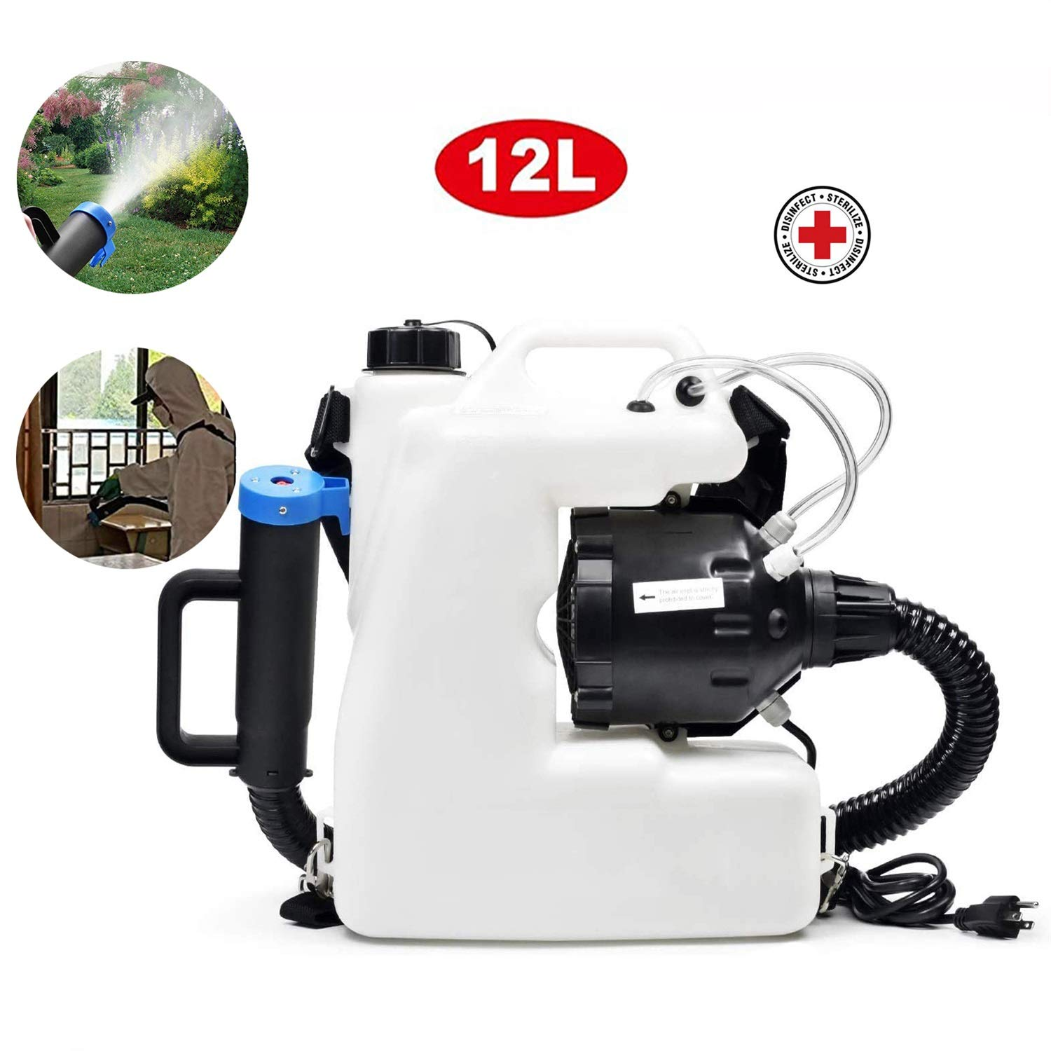 SGLMYD Electrico pulverizador de Agua Jardin, portátil Backpack sprayers 12L ULV nebulizador for sanitizar, Hospitales,Hogar,Subway,Cars: Amazon.es: Hogar