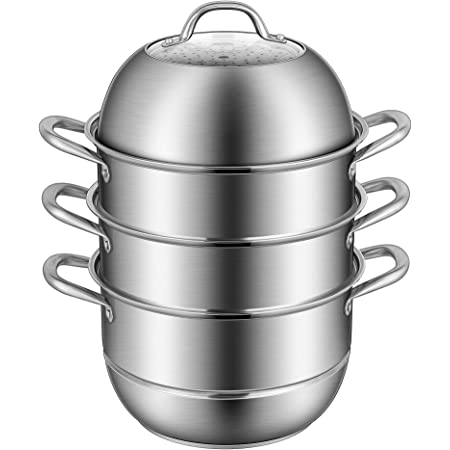 VIVOHOME 3-Tier 11 Inch 8.5Qt 304 Stainless Steel Steamer Pot Steaming Cookware Saucepot with Tempered Glass Lid, Work with Gas, Electric, Induction Oven, Grill Stove Top, Dishwasher Safe