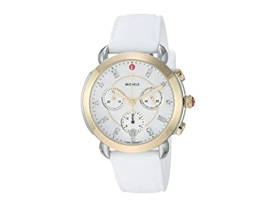 Michele Sidney Two-Tone and White Silicone Diamond Dial Watch (White Silicone/Two-Tone) Watches