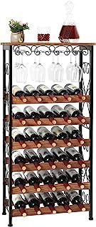 Étagère à vin de sol rustique 30 bouteilles avec porte-verre à vin, Présentoir de rangement pour organisateur de bouteille...