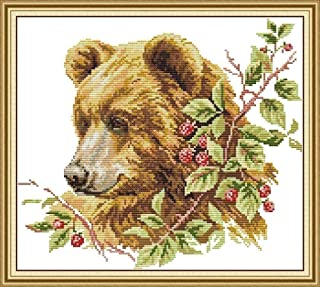 11CT Stamped Cross Stitch Embroidery Kits Brown Bear Pre-Printed Pattern Counted Cross-Stitching Kits Fabric Needlepoint C...