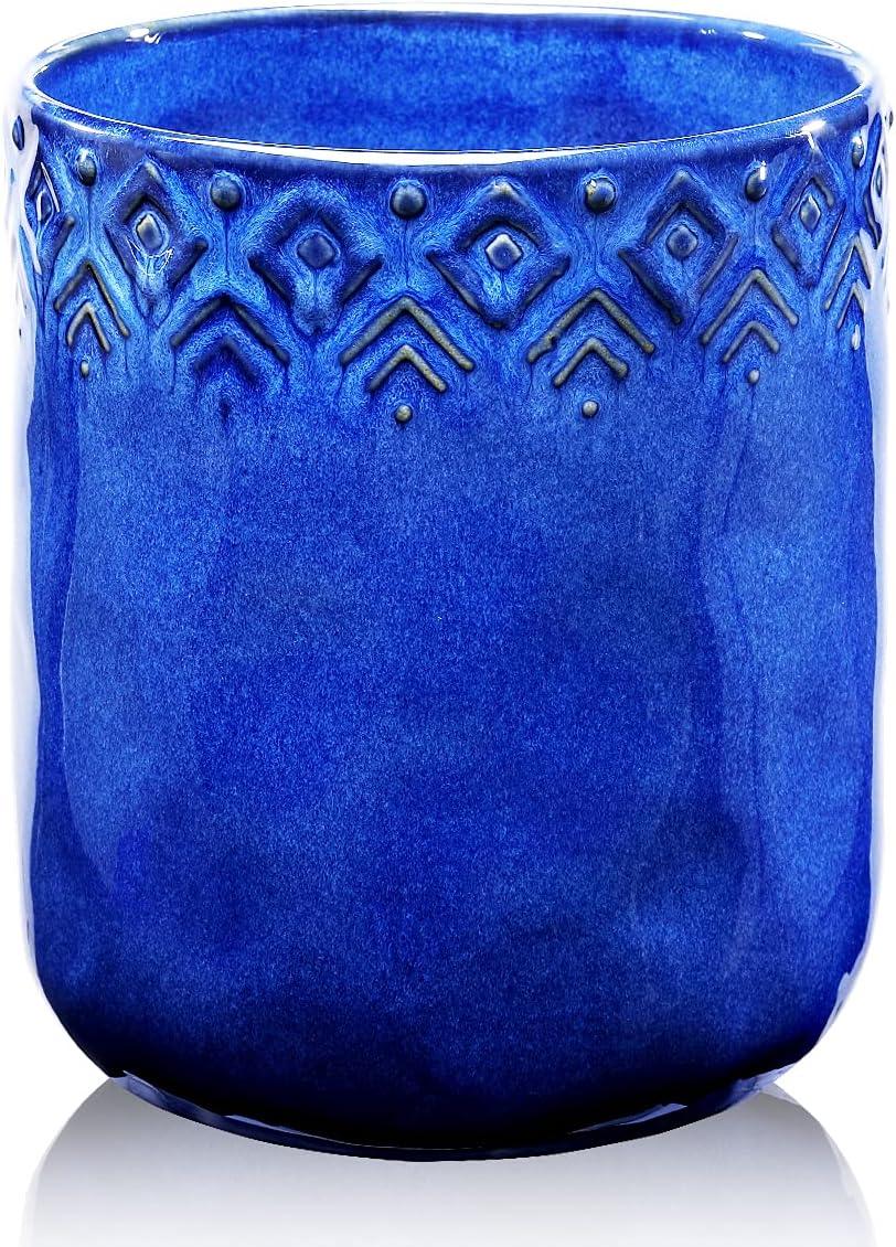 Kitchen Utensil Holder, Ceramic Utensil Crock Large Utensil Holder for Countertop, Cooking Utensil Organizer for Wedding/Birthday/Housewarming Gift, Navy Blue Color : Home & Kitchen