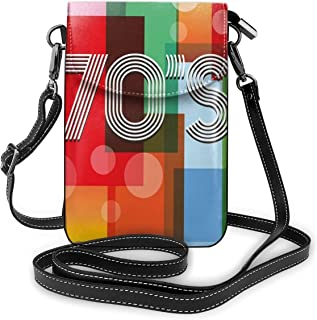 Jiger Women Small Cell Phone Purse Crossbody,Retro Groovy Art Backdrop Colorful Geometric Abstract Striped Old Fashioned Love