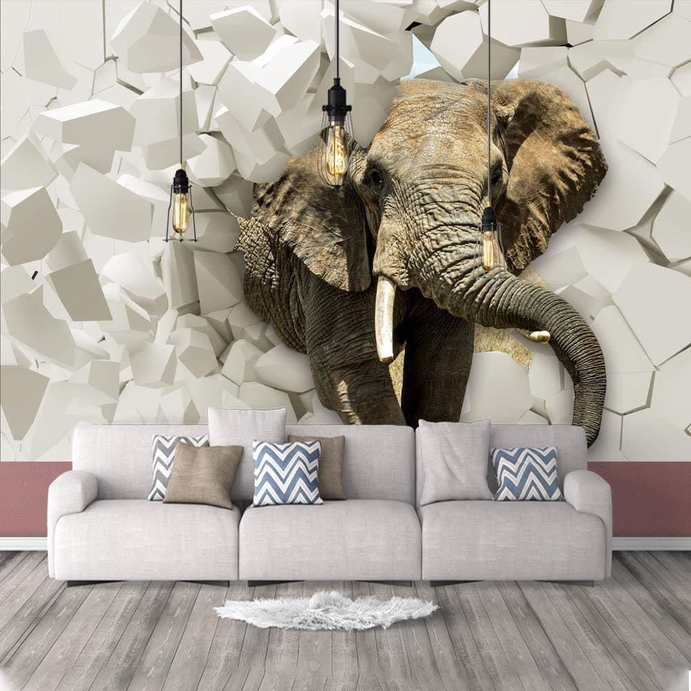List price wall26 OFFer Wall Mural 3D Image Removable Self-Adhesive L of Elephant