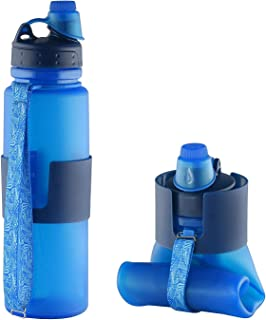 Silicone Collapsible Water Bottle   Lightweight for Sports and Travel - 22 Ounce/650 ml - Leak Proof Twist Cap/Comfortable Suction Nozzle Cap - BPA Free - Portable Roll Up Bottle