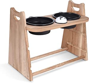iDogin Raised Dog Bowls, 3 in 1 Adjustable Height Wood Elevated Dog Bowls Feeder Stand with 2 Large Capacity Collapsible Travel Bowls and Meal Bell for Dog and Cat