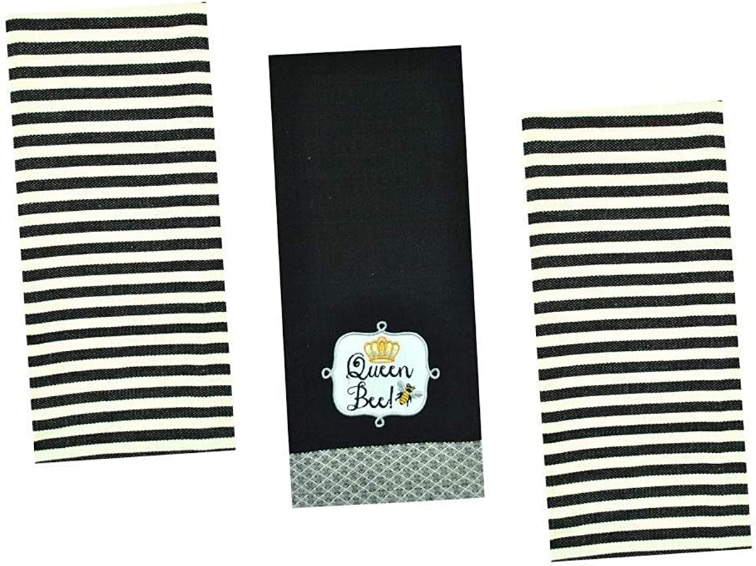 Honey Bee Kitchen Towels Set 3 Cotton Decorative Towels For Dish And Hand Drying 18 Inch X 28 Inch