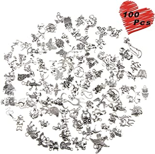 100 Pcs Wholesale Silver Charms Mixed Smooth Metal Charms Pendants Accessory, DIY for Jewelry Making and Crafting (Animal Style)