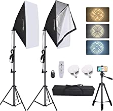 "Inkeltech Softbox Lighting Kit - 50W E27 3000-6500K Dimmable Bi-Color LED Photography Light with 20""x27"" Softbox and Light..."