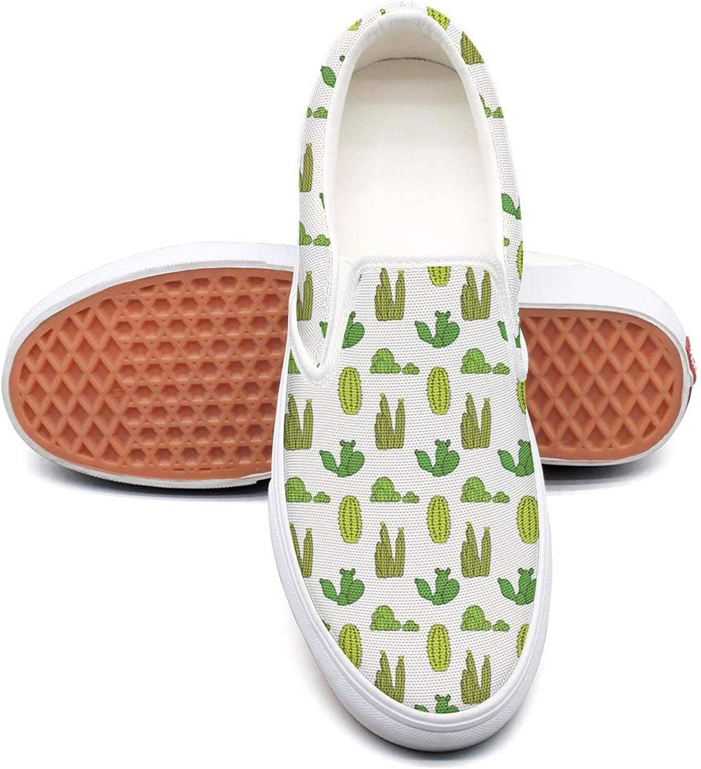 Feenfling Cacti Parttern Party Womens Light Slip on Low Top Canvas Sneakers shoes