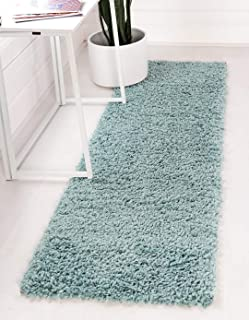 Unique Loom Davos Shag Collection Contemporary Soft Cozy Solid Shag Aqua Runner Rug (2' 2 x 6' 7)