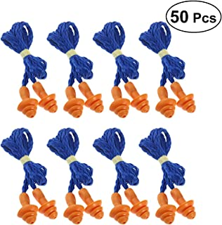 OUNONA 50 Pairs Corded Soft Silicone EarPlugs Reusable Hearing Protection for Sleeping Hearing Protection Swimming(Blue)