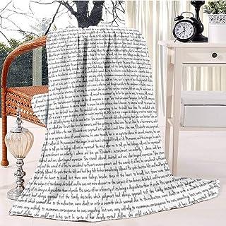 Pride and Prejudice text Bed Blanket Plush Velvet Soft Warm Blanket Lightweight Microfiber Cozy Blanket Christmas Blanket ...
