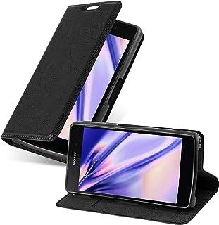 Cadorabo Bokskalet fungerar med Sony Xperia Z2 Compact in Night Black – med magnetisk stängning, stativfunktion och kortpl...