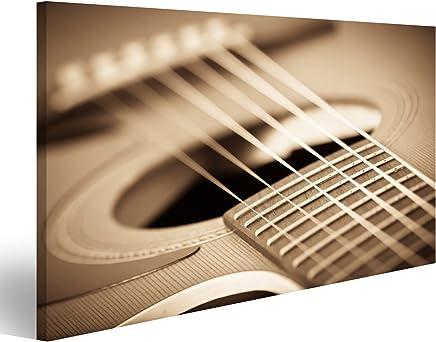islandburner Cuadro Cuadros Guitarra Efecto Sepia Vendimia Impresión sobre Lienzo - Formato Grande - Cuadros Modernos