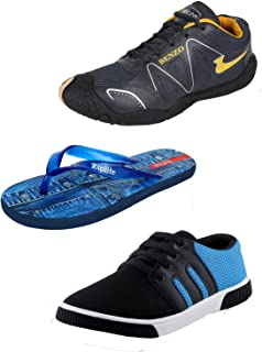 Bersache Men Combo Pack of 3 Sports Shoes with Flip-Flops & Casual Shoes (9 UK)