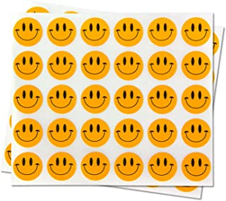 Happy Face Smiley Face Labels Round Self Adhesive Circle Stickers (Orange Black / .5