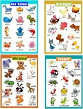 4 Pieces Laminated Educational Preschool Posters for Toddlers  Educational Wall Charts   School Classroom Posters   Class Decorations for Kindergarten- Sea Animal,Farm Animal,Wild Animal, Insect.