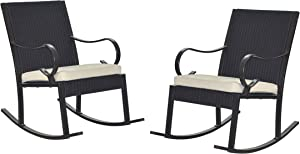 Christopher Knight Home 304353 Muriel Outdoor Wicker Rocking Chair (Set of 2), Dark Brown/Cream Cushion