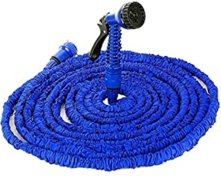 RedEarth 100FT / 150FT / 200FT Magic Stretch Flexible Expandable 3 x Expanding Garden Hose Pipe Natural Triple Layer Light Weight Non Kink with 7 Setting Professional Water Spray Nozzle (100FT)