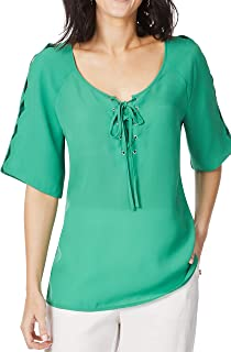 Rockmans Table Eight Elbow Sleeve Lattice Scallop Blouse - Womens