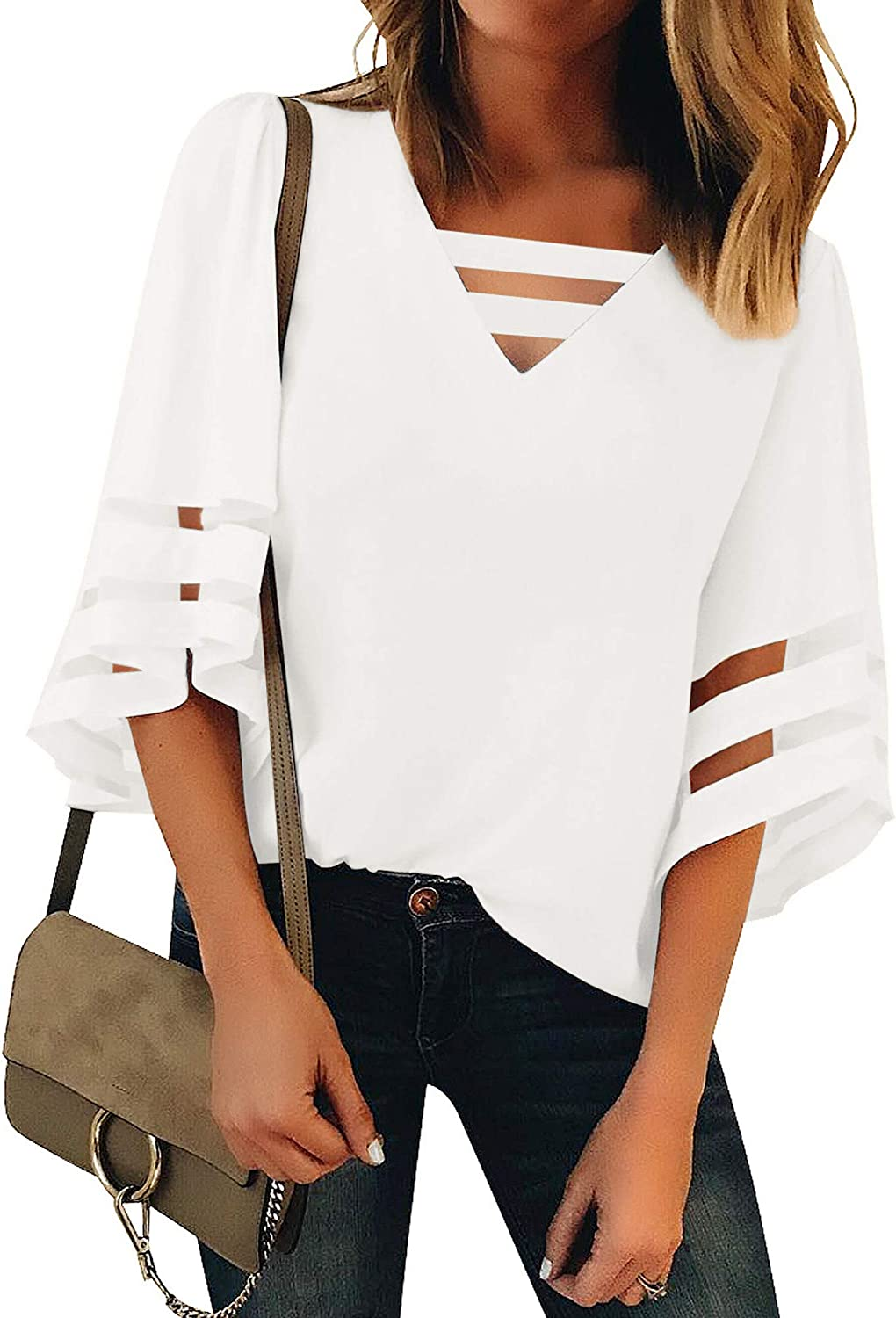 luvamia Women Casual Strappy V Neck Blouse 3/4 Bell Sleeve Mesh Panel Shirts Top