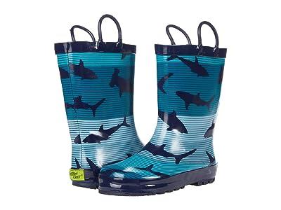 Western Chief Kids Shark Stripe Rain Boots (Toddler/Little Kid) Boy
