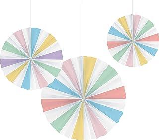 Creative Converting Pastel Colours Paper Fan Decor 3-Pieces, Multicolour