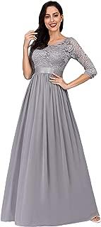 Women Elegant 3/4 Sleeve Empire Waist Maxi Bridesmaid Dresses 07412