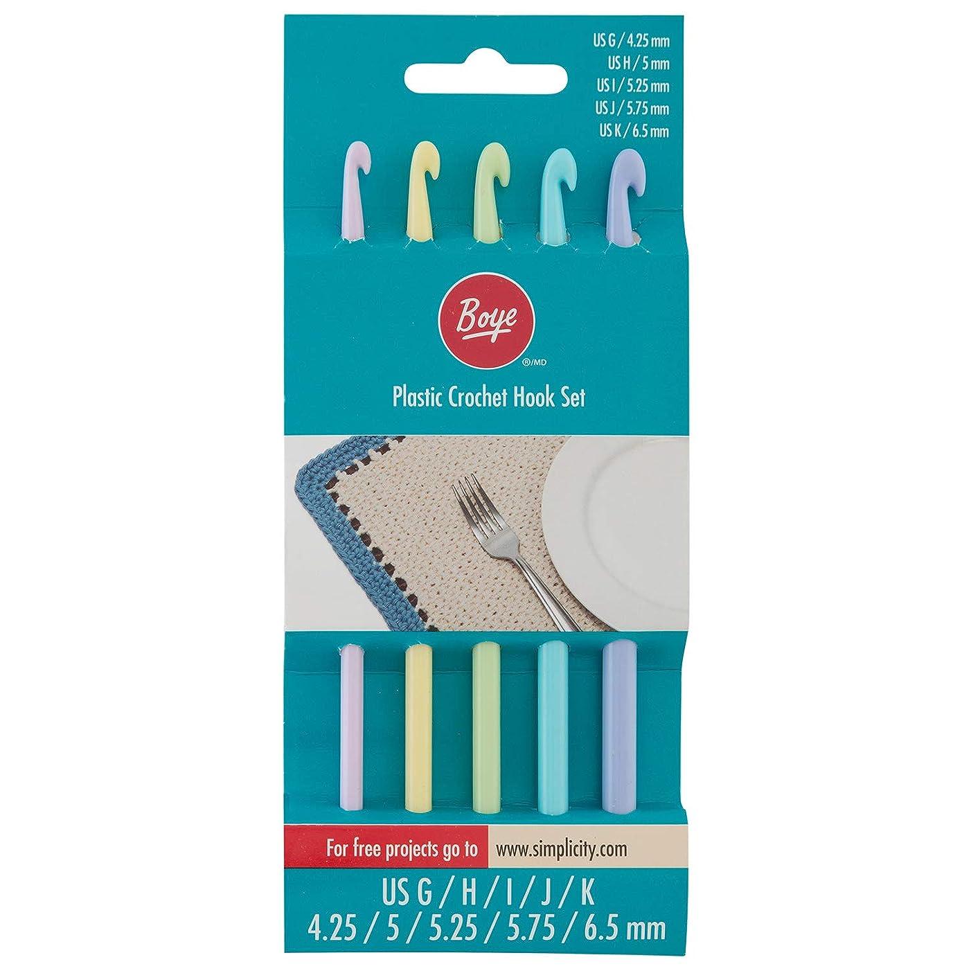 Boye 3336234001WA Plastic Crochet Hook Set, 6pc, US Sizes G, H, I, J, and K, 6 Piece