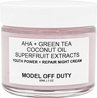 Model off Duty Beauty Antioxidant Night Treatment Cream | Neck Cream, Alpha Hydroxy Acids AHA | Organic & Natural Face Moisturizer Anti Wrinkle, Dark Spots, Improved Elasticity, Firmer Skin | 2 oz