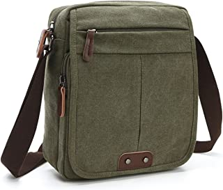 Small Canvas Cross-body Bag for Men Vintage Retro Messenger Bag Travel Satchel Purse Black Brown