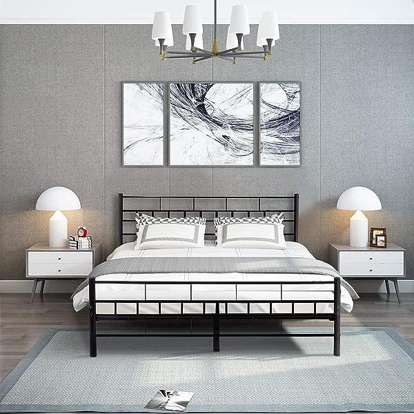 Giantex Wood Slats Bed Frame Platform Headboard Footboard Furniture Queen Black