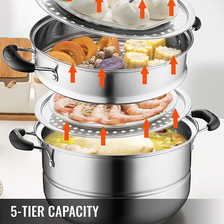 VEVOR Vaporizadores de Alimentos Acero Inoxidable Vaporizadores de Acero Inoxidable de 5 t/ítulos para cocinar 28cm 11inch Juego de ollas para vapores de Alimentos Adecuado para Gas
