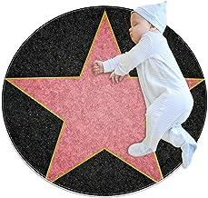 Hollywood stjärna, barn rund matta polyester överkast matta mjuk pedagogisk tvättbar matta barnkammare tipi tält lekmatta