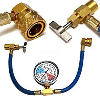 XS Universal Car Air Conditioning AC R134A Refrigerant Recharge Hose Pressure Gauge