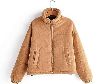 Surprise S Winter Warm Women's Jacket Corduroy Parkas Turtleneck Zipper Long Sleeve Jackets Outwear