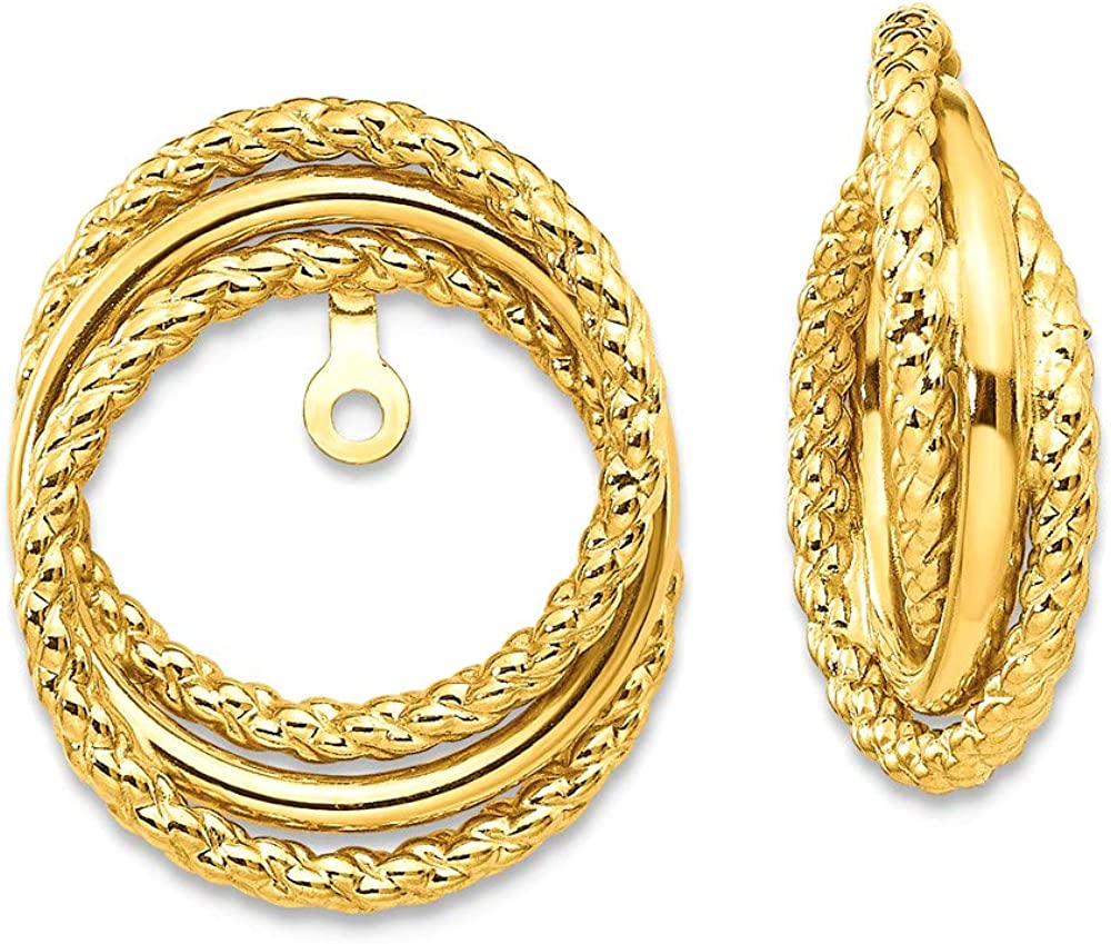 Finejewelers 14k Yellow Gold Polished and Twisted Fancy Earring Jackets (up to 8mm)