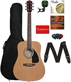 Best Fender 0950816021-COMBO-DLX Acoustic Guitar Bundle with Gig Bag, Tuner, Strings, Strap, Picks, Austin Bazaar Instructional DVD, and Polishing Cloth Review