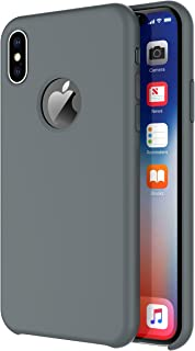Arteck iPhone X/iPhone Xs Case, Liquid Silicon Rubber iPhone Xs (2018) iPhone X (2017) 5.8 inch Shockproof Case with Soft Microfiber Cloth Cushion - Space Gray