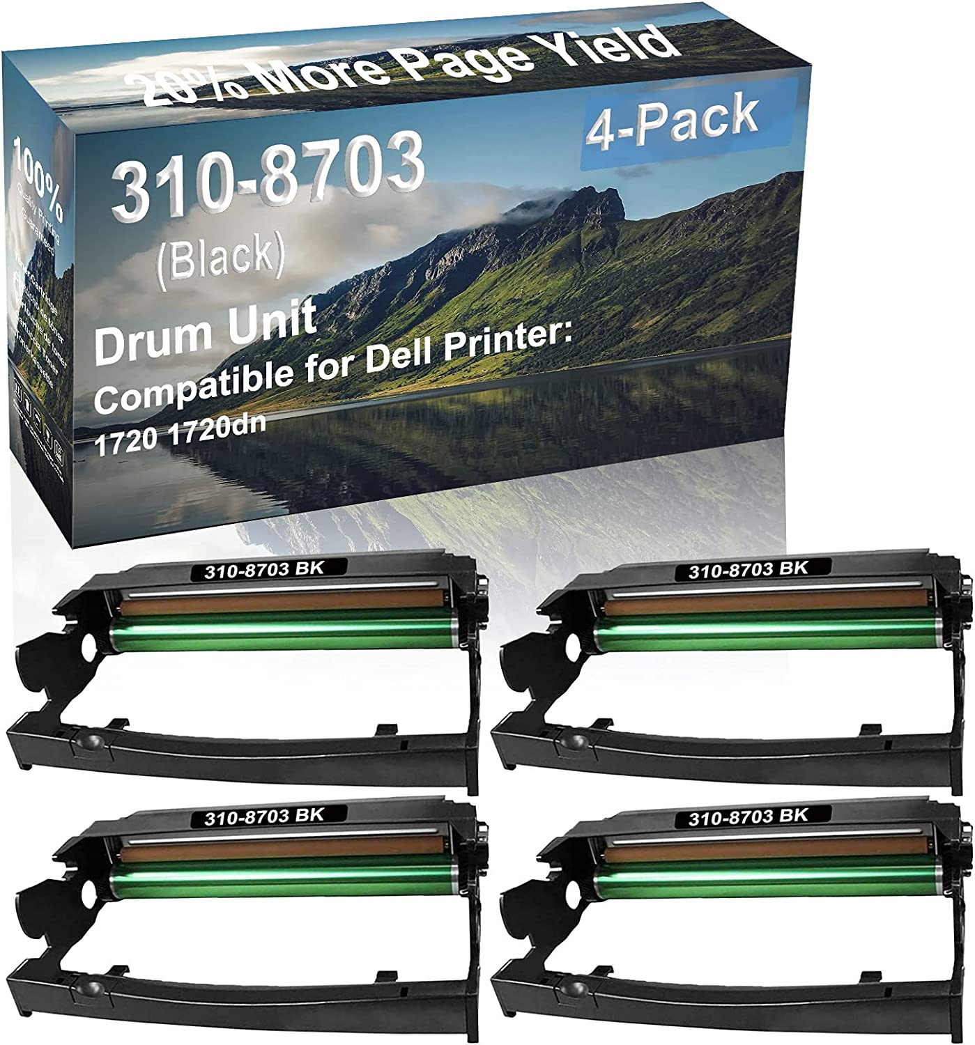 4-Pack Compatible 310-8703 Drum Kit use for Dell 1720 1720dn Printer (Black)