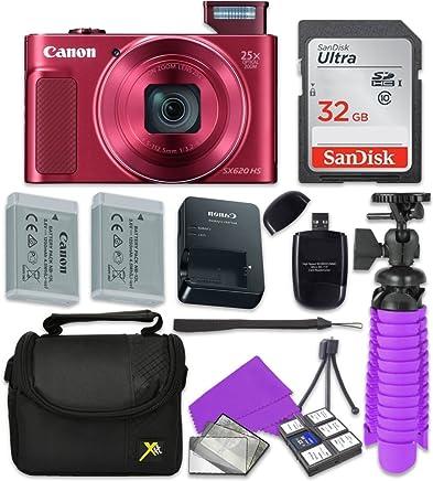 Canon PowerShot sx620HS WiFi Cámara Digital (Rojo) con Sandisk 32GB tarjeta de memoria SD + Batería Extra + Trípode + Case + Lector de tarjetas + Kit de limpieza