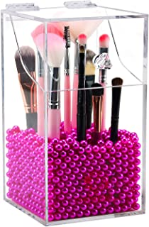 Clear Cosmetic Brush Organizer,Acrylic Brush Holder with Lid,Dust-proof Makeup Brush Holder with Free Rosy Pearls for Vanity Counter-top - NEWCREA