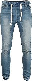 Men's Vintage Washed Drop Crotch Comfort Stretch Jogger Denim Pants