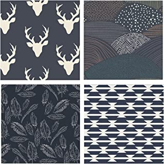 4 FABRIC BUNDLE - Various Sizes - Hello Bear - Arizona - Bonnie Christine - Art Gallery Fabrics - Deer Head Silo Antlers Feathers Navy (Half yards)