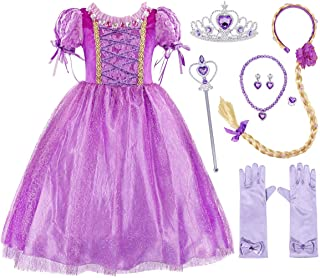 AmzBarley Rapunzel Costume Princess Lepei Dress for Toddler Girls Fancy Party Halloween Christmas Cosplay Costume