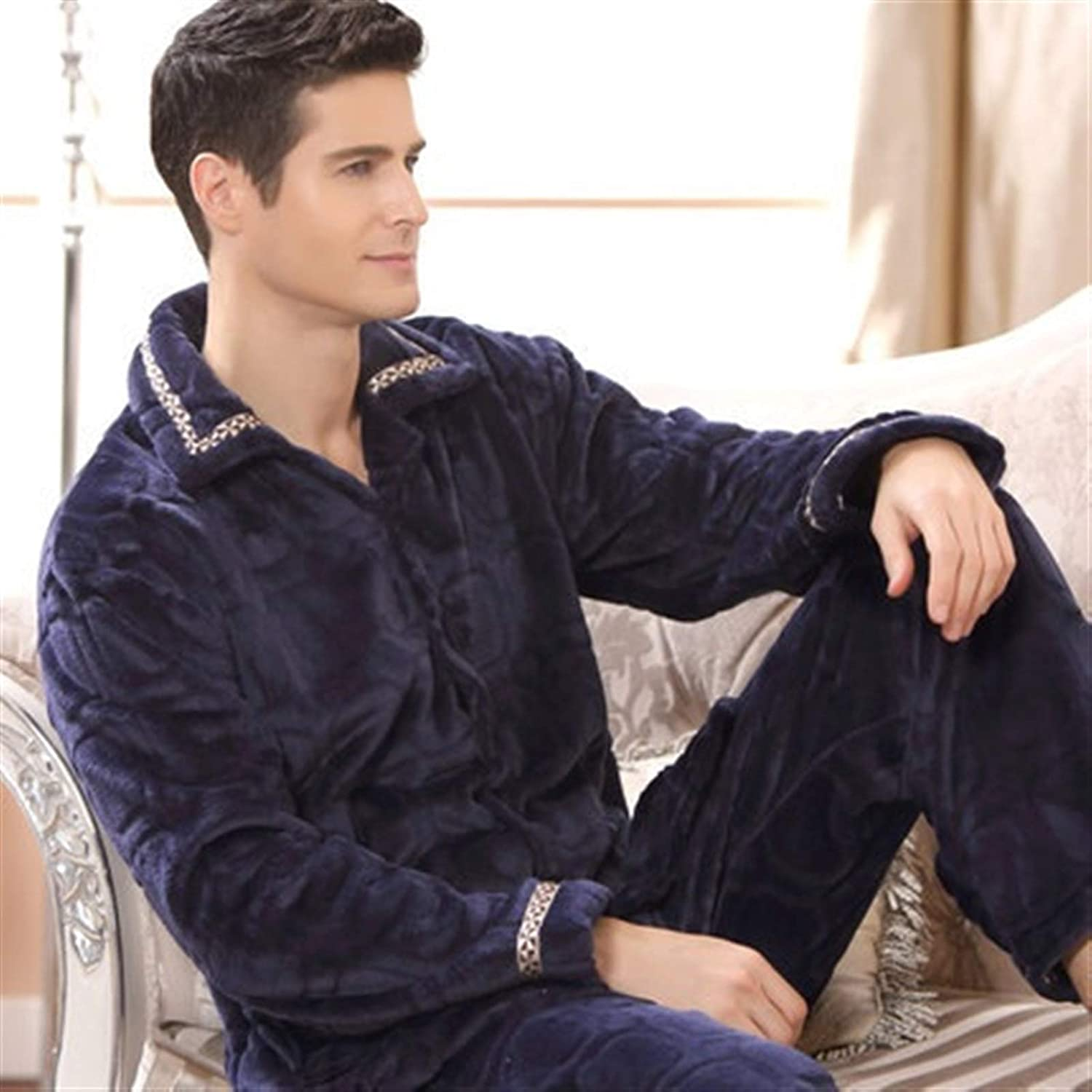 DANGAO Winter Thick Coral Men Pajamas Sets of Sleep Tops & Bottoms Male Flannel Warm Sleepwear Thermal Home Clothing (Color : 7, Size : XXX-Large)