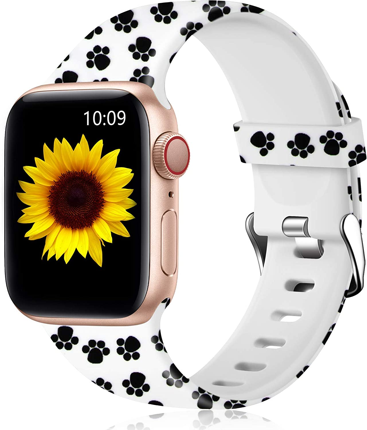 Easuny Floral Band Compatible with Apple Watch SE 40mm 38mm Women - Floral Soft Pattern Printed Cute Fadeless Silicone Replacement Wristband for iWatch Series 6 5 4 3 2 1 Girls,Cat-Paw Print,S/M