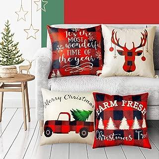 EPLST Set of 4 Pillow Covers Christmas Decorative Throw Pillow Covers Vintage Wood Moose Deer Elk Bear Farmhouse Home Decor Cotton Linen Pillow Case Cushion Cover 18